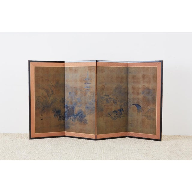 Japanese Four-Panel Screen of Pagoda Bridge Landscape For Sale - Image 11 of 13