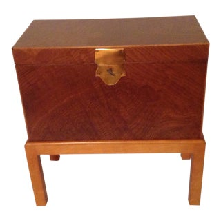 Mid Century Modern 70s Italian Wine Box Flip Top Occasional Box on Frame Made in Italy For Sale