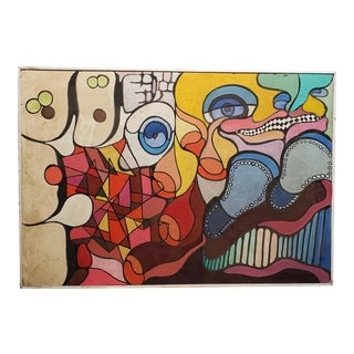 Vintage Abstract Oil Painting by Peter Sword C.1970s For Sale