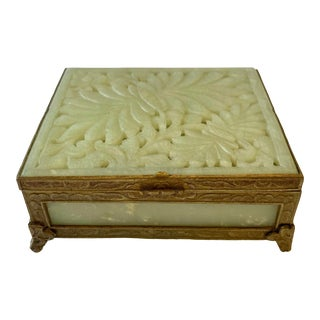 Antique Chinese Jade & Brass Box For Sale