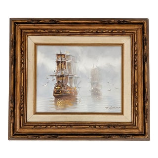 1960's Framed Nautical Ship Oil Painting by T. Garcia For Sale