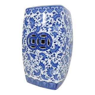 Chinese Blue & White Floral Garden Stool For Sale