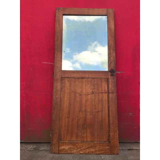 Antique Architectural Fragment Mercury Mirror Panel Inset & Hardware Wood Door For Sale - Image 12 of 12