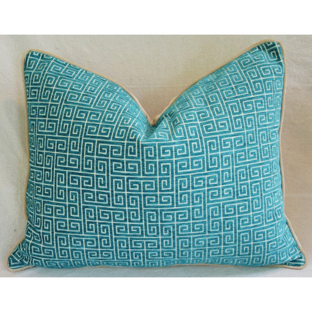 """Designer Turquoise Greek Key Velvet Feather/Down Pillows 24"""" X 18"""" - Pair For Sale In Los Angeles - Image 6 of 8"""