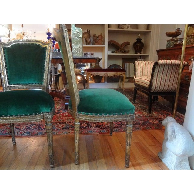 French 19th Century French Louis XVI Style Giltwood Chairs - a Pair For Sale - Image 3 of 10