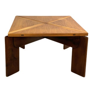 Walnut Extension Square Dinning Table by Silvio Coppola For Sale