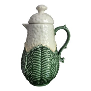 Vintage Majolica CabbageWare Coffee Pot For Sale