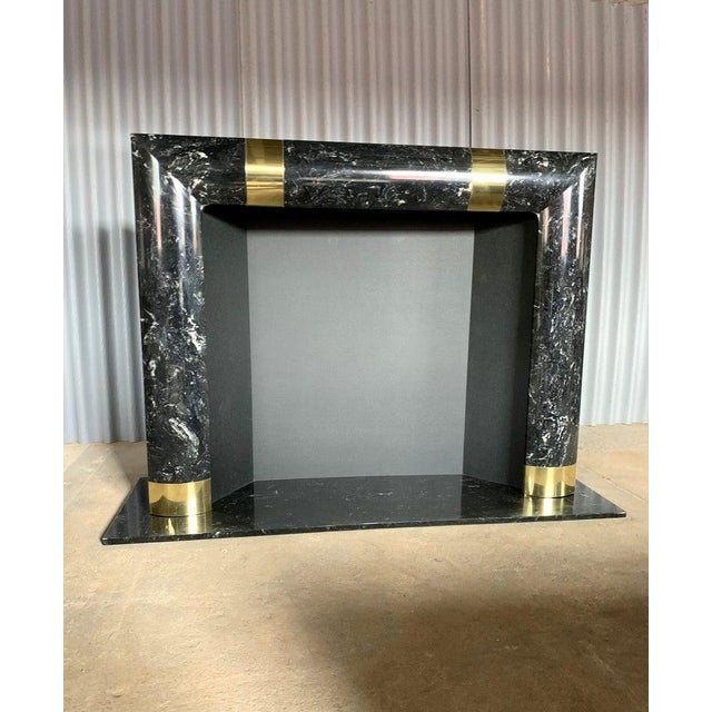 1980s Brass Marble and Composite Fireplace For Sale - Image 11 of 11