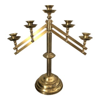 Vintage Brass Altar Candelabra For Sale