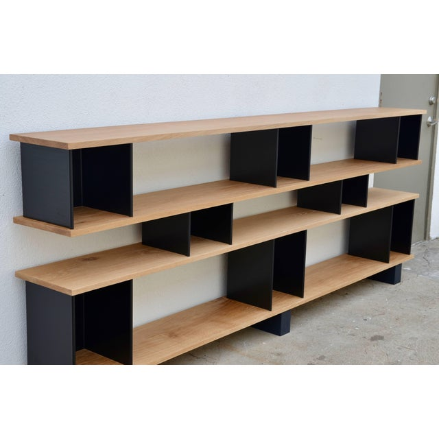 "Mid-Century Modern Design Frères Low ""Horizontal"" Matte Black and Polished Oak Shelving Unit For Sale - Image 3 of 7"