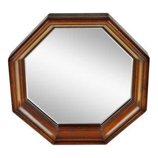 Vintage Wood Framed Octagonal Wall Mirror For Sale