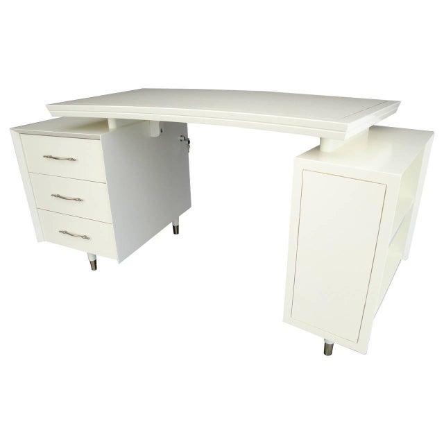 1960s Mid Century Modernist Floating Top Curved Partner Desk For Sale - Image 11 of 11