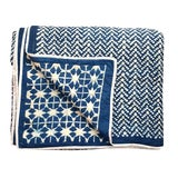 Image of Contemporary Queen Nila Tara Navy Blue Cotton Quilt For Sale