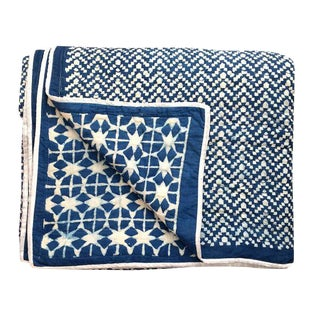 Contemporary Queen Nila Tara Navy Blue Cotton Quilt For Sale