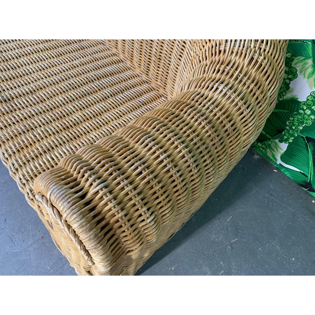 Michael Taylor Sculptural Wicker Sofa in the Manner of Michael Taylor For Sale - Image 4 of 11