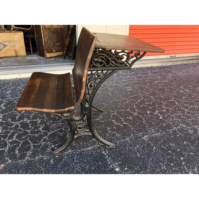 Antique Child's School Desk With Folding Chair For Sale In West Palm - Image 6 of 6
