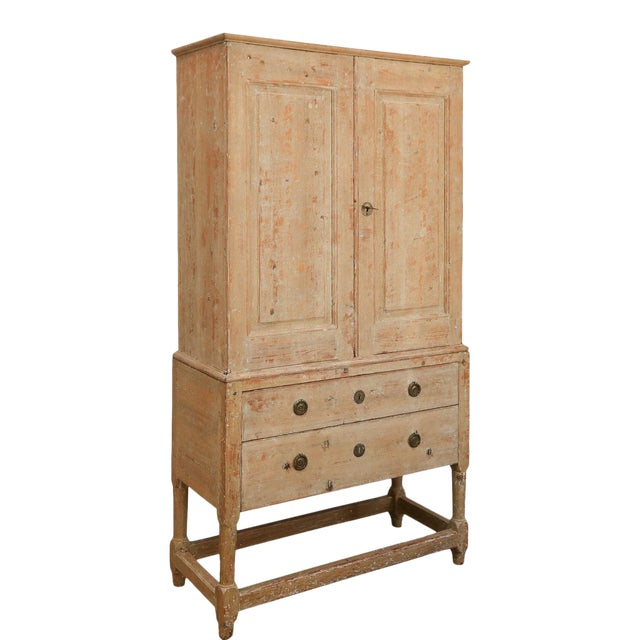 Swedish Pine Tall Cabinet For Sale