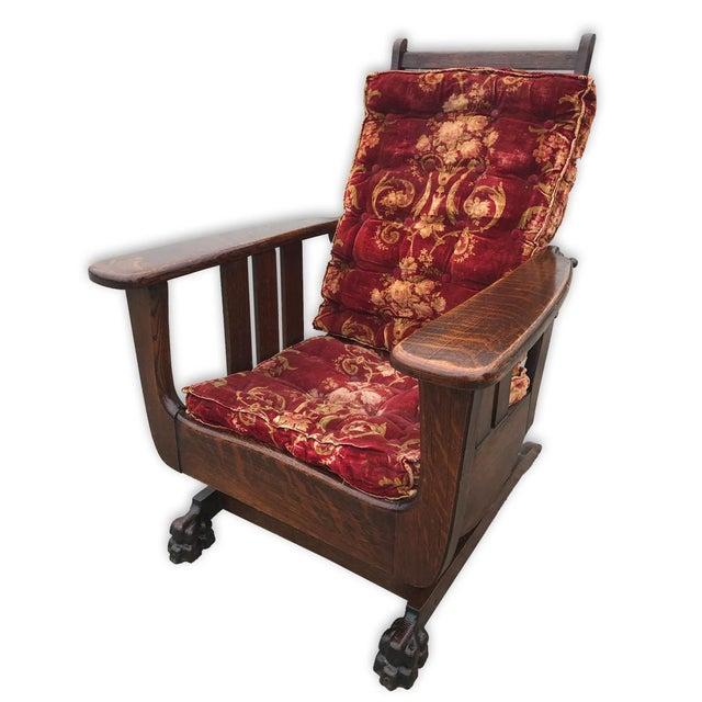 Arts & Crafts Antique Arts & Crafts Mission Tiger Oak Reclining Morris Rocking Chair For Sale - Image 3 of 8