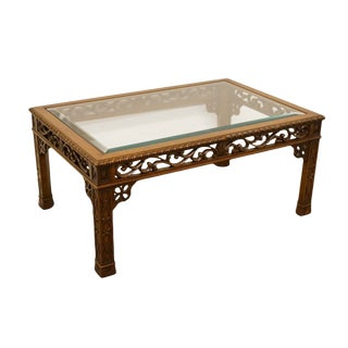 20th Century English Revival Ornate Carved Wood Coffee Table For Sale