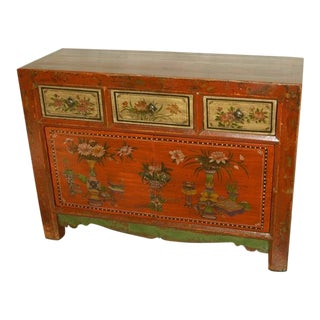 Early 20th Century Antique Mongolian Painted Sideboard For Sale