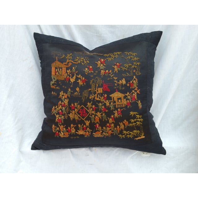 Chinese Hand Embroidered 100 Children Pillow - Image 2 of 6