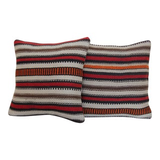 Striped Kilim Rug Pillow - a Pair For Sale