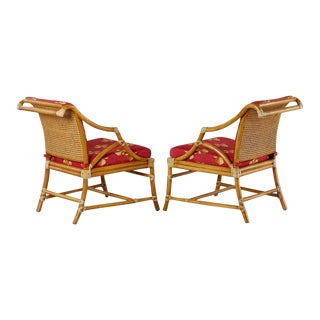 McGuire Rattan and Cane Upholstered Lounge Chairs - a Pair For Sale
