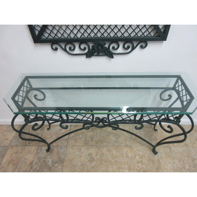 Ethan Allen Wrought Iron Glass Top Mirror & Console Table For Sale In Philadelphia - Image 6 of 10