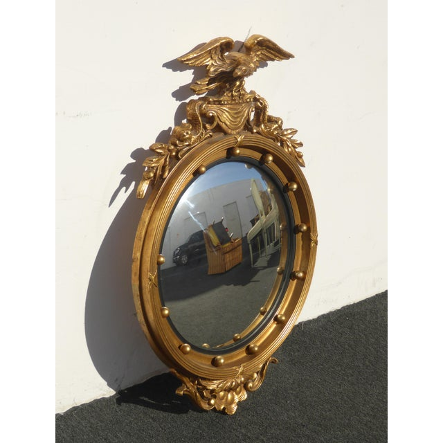 1950s Vintage Federal Eagle Convex Bullseye Gold Wall Mantle Mirror For Sale - Image 5 of 11