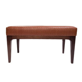 Mid-Century Modern Style Raphael Walnut Frame & Basket Weave Leather Bench For Sale