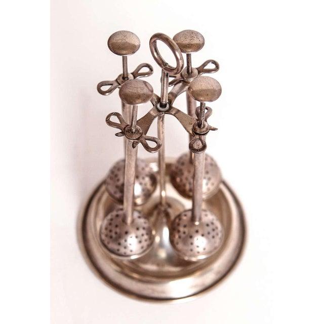 Art Deco Vintage Modernist Art Deco Sterling Silver Tea Infuser Set on Original Stand For Sale - Image 3 of 11