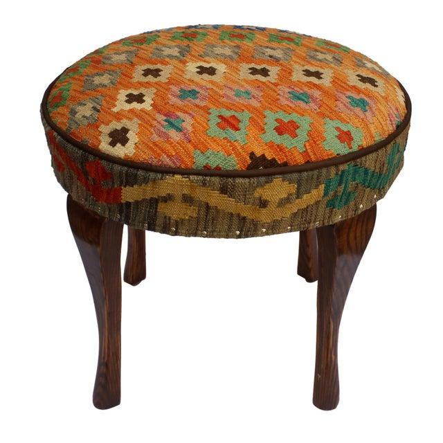 Textile Arshs Crissy Orange/Blue Kilim Upholstered Handmade Ottoman For Sale - Image 7 of 8