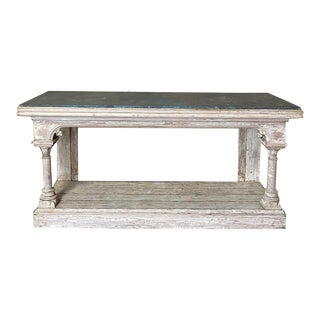 19th Century Grand Painted Console With Faux Slate Top For Sale