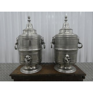 Bloomingdales Italian Pewter Samovars With Elf Heads - a Pair Preview