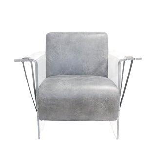 Modern Pasargad Home Grey Eleganza Modern Lucite Armchair For Sale