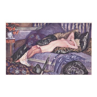 Matted Art Deco Lithograph Reclining Nude on Pillows For Sale