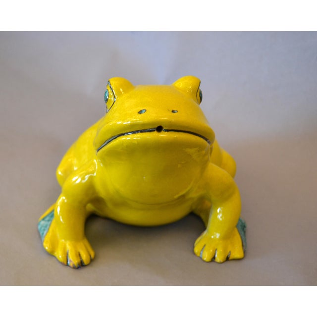 Italian Neon Yellow & Green Ceramic Pottery Fountain Frog Outdoor Sculpture For Sale In Miami - Image 6 of 13