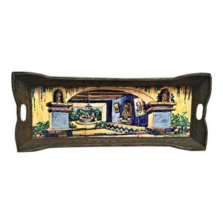 Vintage Mexican Ceramic Tile Serving Tray For Sale