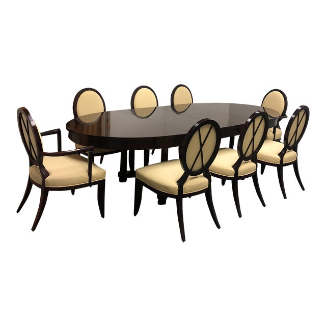 Barbara Barry Oval Dining Table & 8 Chairs for Baker - Set of 9 For Sale