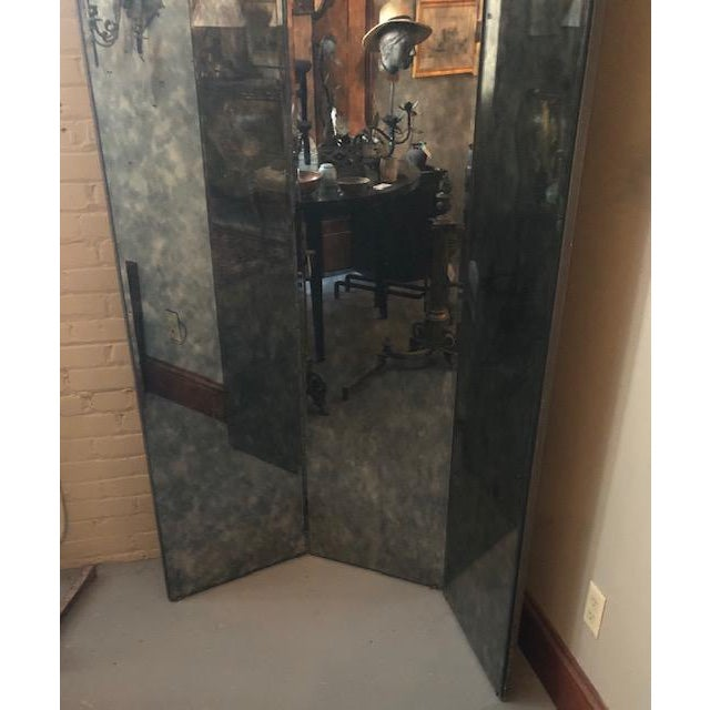 Oyster Gray 1960s Mid Century Hollywood Regency Smoked Glass Three Way Mirror For Sale - Image 8 of 10