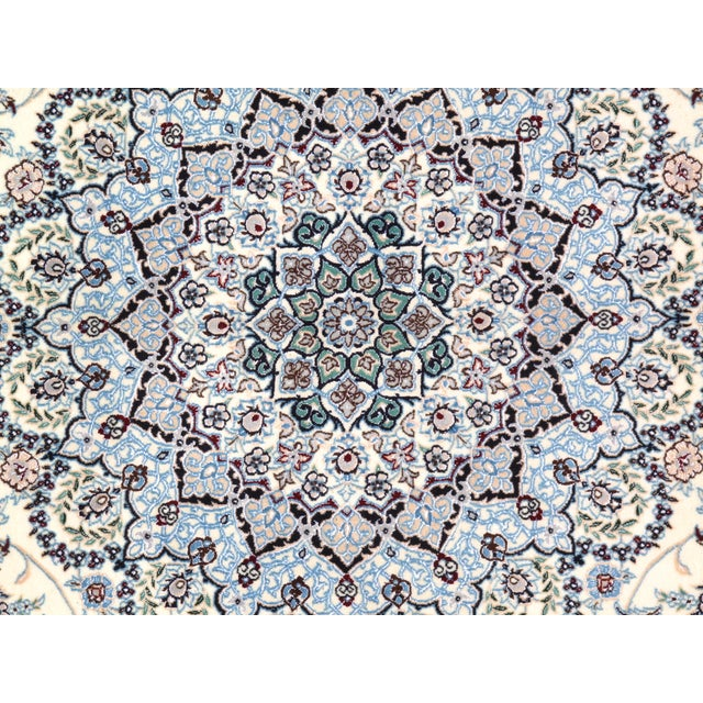 """Islamic Pasargad N Y Persian Nain 6-Lines Hand-Knotted Lamb's Wool & Silk Rug - 8'2"""" X 11'6"""" For Sale - Image 3 of 5"""