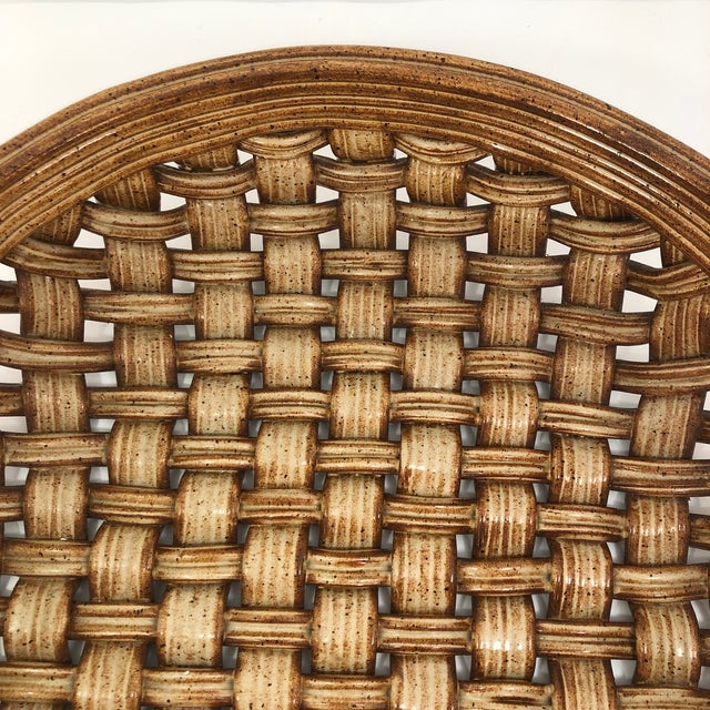 2010s Phil Sellers River Hill Pottery Basket Weave Bowl or Platter For Sale - Image 5 of 13
