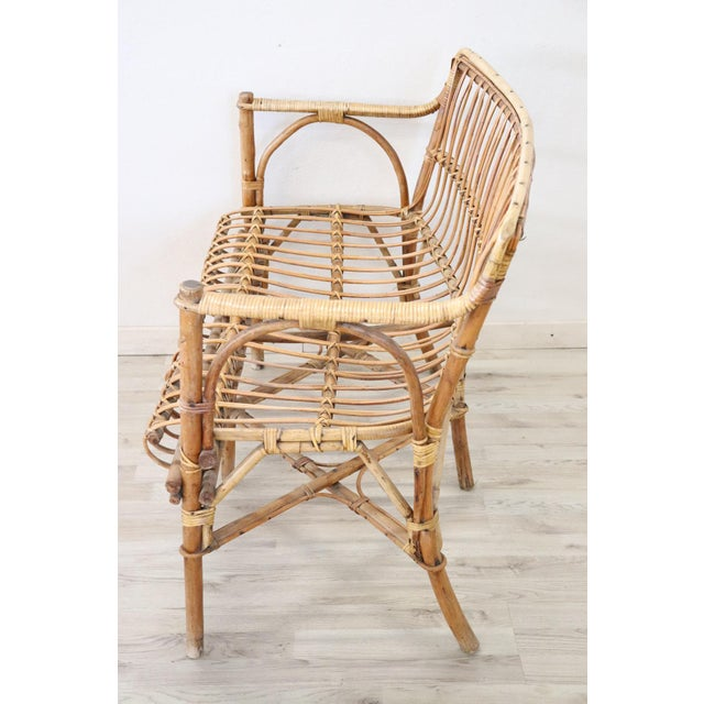 20th Century Italian Bamboo and Rattan Living Room Set of 4 Pieces, 1960s For Sale - Image 12 of 13