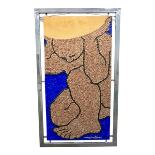 1970s Figurative Abstract Mosaic Glass Sculpture by Massimomiliano Beltrame, Framed For Sale