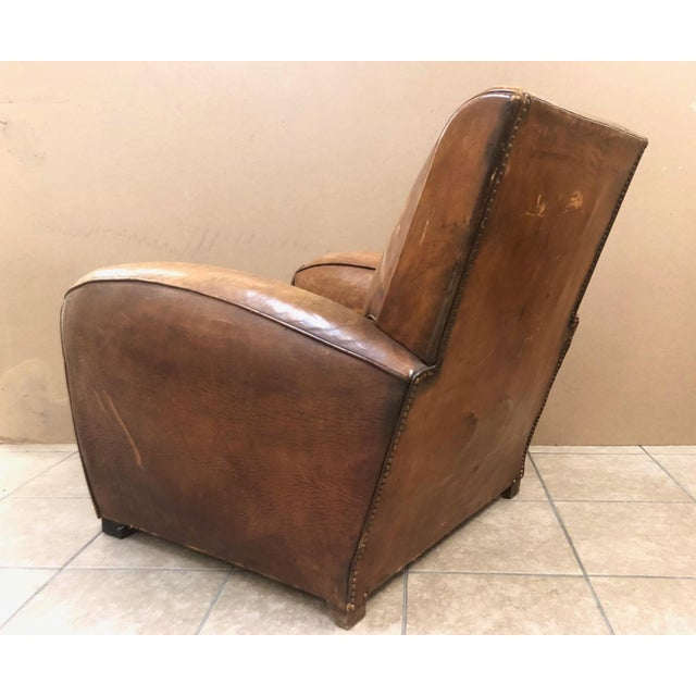 1940s 1940s French Art Deco Leather Lounge Chair For Sale - Image 5 of 11