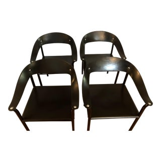 Post-Modern Black Leather Dining Chairs - Set of 4 For Sale