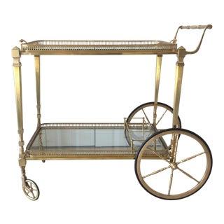 Maison Jansen French Empire Solid Brass Bar Cart For Sale
