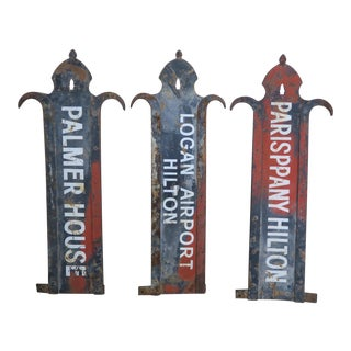 Vintage Painted Iron Painted Airport Signs - Set of 3