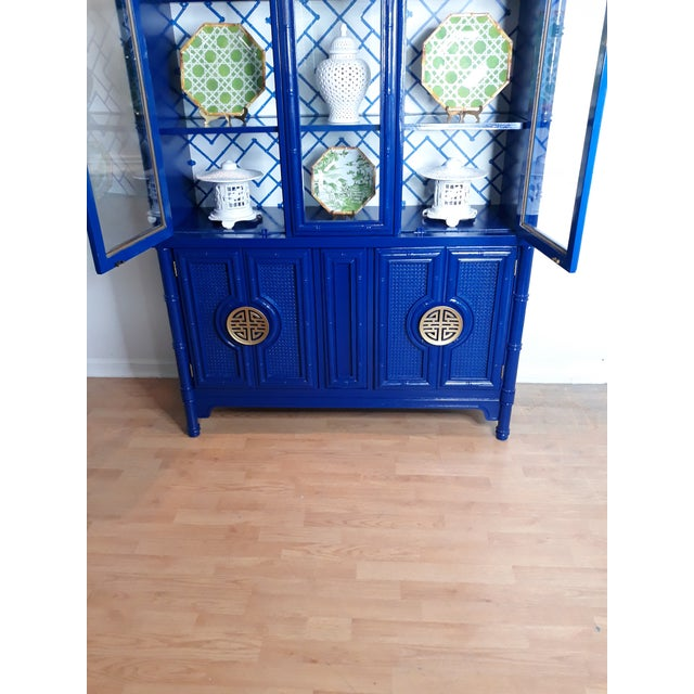 Wood Faux Bamboo Navy Blue Lacquered China Cabinet For Sale - Image 7 of 13