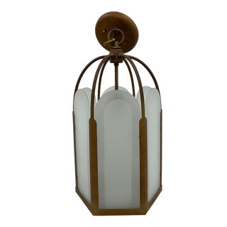 C.1930 French Deco Bronze & Frosted Glass Single Light Hexagon Pendant Chandelier For Sale